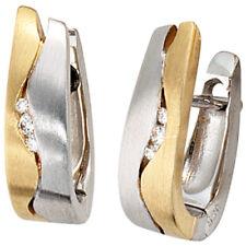 NEU echt Gold Diamanten Ohrringe 14 Karat 585er BICOLOR mattiert zweifarbig