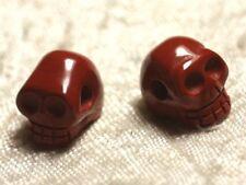1pc - Perle de Pierre Jaspe Rouge - Crâne tête de mort 14x10mm Perçage Côté   45