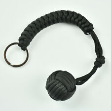Outdoor Hiking High Strength Paracord Monkey Fist Keychain With Steel Ball Black
