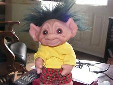 """Vintage Troll #604 Thomas Dam 1977 Doll 9"""" Tall Plus Black Hair moving arm/head"""