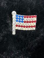 Vintage Rhinestone Patriotic American Flag Brooch