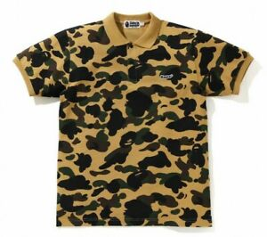 A BATHING APE Men's Polo 1ST CAMO BAPE PATCHED 2 Colors Fast Shipping From Japan