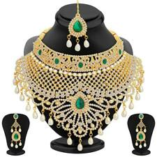 Indian Traditional Jewelry Wedding AD Pearl Necklace Maang Tikka Earring Set New