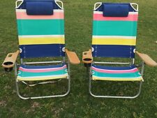 Lot of 2 Vintage Wooden Arms Adjustable Beach Lounge Chairs Lawn Chairs Retro