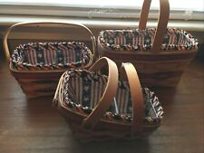 3 Longaberger All American Baskets with Liners and Protectors 1994, 1996 1997