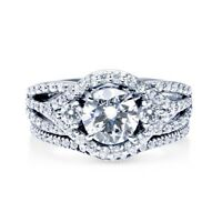 Sterling Silver 925 Women's CZ Round Halo Engagement Ring Wedding Band Set 5-10