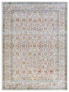 """Aquamarine Floral Area Rugs For Home Living Room Ivory (6' 9"""" x 9' 9"""" Feet)"""