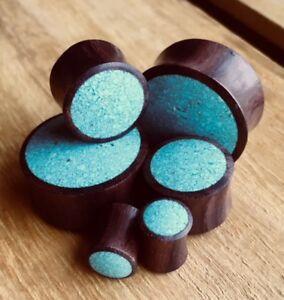 PAIR Crushed Turquoise Inlaid Wood Saddle Plugs Gauges Earlets