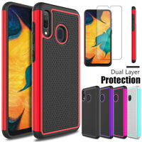 For Samsung Galaxy A10e A20 A30 A50 Shockproof Case Cover+Glass Screen Protector