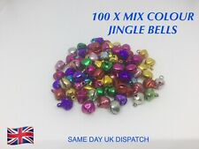 100 X BRIGHT MIXED COLOUR JINGLE BELLS FOR CRAFTING, CHRISTMAS, ARTS, KIDS