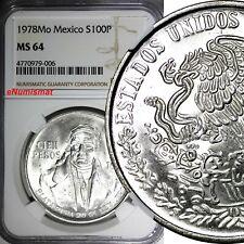 Mexico ESTADOS UNIDOS MEXICANOS Silver 1978 Mo 100 Pesos NGC MS64 GEM KM# 483.2