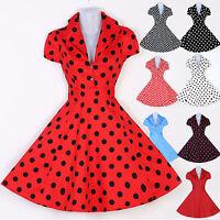 Vintage Retro Cotton Cap Sleeve Swing 40's 50's Polka Dots Jive Dress