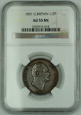 1831 Great Britain 1/2 Penny Coin William IV NGC AU 55 BN Brown AKR