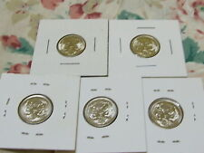 YES 5 UNC 5 cent coins 2010,2011,2012,2013,2014. from mint bag, in 2x2 holders