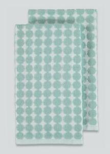 Duck Egg Blue 2 Pack Dot Print Tea Towels (70cm x 50cm) Kitchen Towel