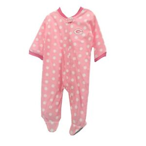 Green Bay Packers NFL Baby Infant Girls Size Pink Pajama Sleeper Bodysuit New