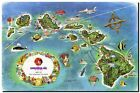 Vintage Illustrated Air travel Map of Hawaii Islands CANVAS PRINT A3