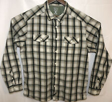 Mountain Hardwear Plaid Long Sleeve Button Down Shirt Mens Large Green Beige