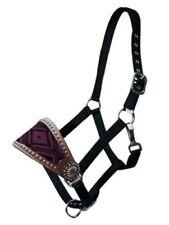 Showman Leather Bronc Halter w/ PURPLE Beaded Navajo Design!! NEW HORSE TACK
