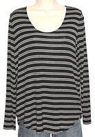 Ann Taylor LOFT Women's Long Sleeve Silky Stretch Black Striped Top Size Medium
