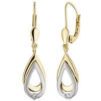 Ohrringe Ohrhänger mit Diamanten & 585 Gold Gelbgold Weißgold, Ohrschmuck, Damen