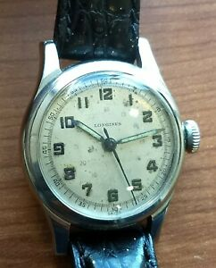 Vintage 1940s Longines Sei Tacche Wristwatch. Military style Radium Dial.