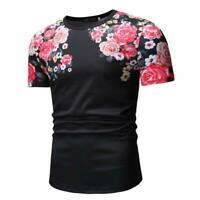 Muscle tee blouse men's short sleeve summer casual tops t shirt slim fit