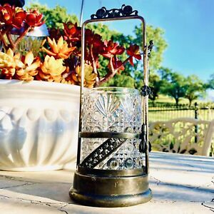 Aurora 1869 Decorative Glass Pickle Jar & Tongs Quadruple Silver Plate #0659