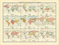Antique Map-WORLD-DISPERSION OF WILD AND DOMESTIC ANIMALS-Andree-1904