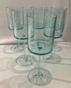 Set of 6 Rachel Zoe 14oz. Acrylic Wine Glasses Aqua Tint  NEW