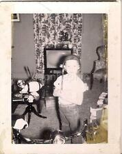 Happy Soldier Helmet Kid w/Bicycle Toys Football Old Console TV Vintage Photo