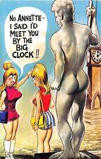 POSTCARD  COMIC  BAMFORTH  COMIC  Pretty  Girls  Statue  Big  Clock