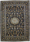 Vintage Navy Blue Traditional Floral 8X11 Hand Knotted Oriental Area Rug Carpet