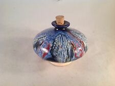"""French France Blue & Red Painted Bottle with Cork Stopper 3"""" Tall"""