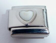 WHITE HEART Italian Charm April Birthstone LOVE 9mm fits Classic Bracelets E488