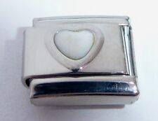 WHITE HEART Italian Charm April Birthstone LOVE 9mm fits Classic Bracelets E488