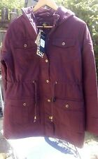 Ladies Brave Soul Dallas Parka Wine/Burgundy Size 10 New with tags