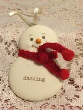 "Department 56 Snowman Ornament "" Dazzling "" 3"" Snowman Porcelain Bisque"