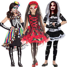 Girls Halloween Day of The Dead Fancy Dress Costume Kids Scary Skull Costumes UK