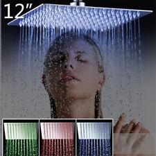 LED 12-inch Square Rain Shower Head Rain Bathroom Top Spray Rotate Heads Brushed