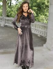 Victorian Trading Co Pewter V Neck Velvet Long Dress Gown LG