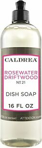 Caldrea Rosewater Driftwood, DISH SOAP Concentrated Dish Detergent 16 Ounces