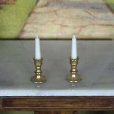 Vtg 50s? Dollhouse BRASS CANDLE HOLDERS Metal Mid Century Candles Candleholders