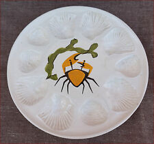 French Modernist Ceramic 10 Shell Oyster Plate Crab Signed J Cocteau ? Vallauris