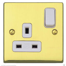 MK K5357PBS Switched Socket Outlet - 13 Amp (Polished Brass / White Insert)