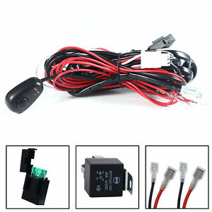 Heavy Relay Harness Wire Kit w/ LED ON/OFF Switch For Fog Lights HID Worklamp