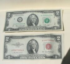 3/SET:Two $2 Bills(1953 Red Seal &1976 Bicentenial 200 years)+1 Old Cent US Coin