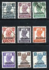BAHRAIN King George VI 1942-45 INDIA Issues Overpinted BAHRAIN SG 38 - SG 48 VFU