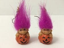 Vintage 90s Russ Troll Doll Halloween Orange Pumpkin Purple Hair Earrings