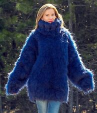 Hand Knitted Mohair Sweater SUPERTANYA BLUE MEGA THICK Heavy Pullover 10 strands
